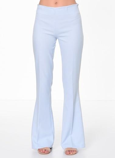 İroni Şeritli İspanyol Paça Pantolon Mavi